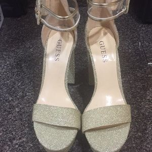 Glitter gold heels with clear strap